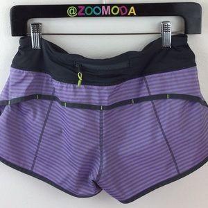 Lululemon Speed Shorts   4 purple w gray stripes